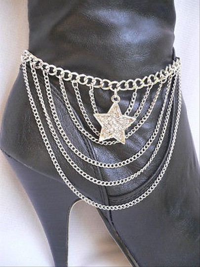 Other Women Silver Waves Chains Boot One Strap Big Star Rhinestones Western Shoe Charm