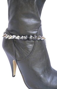 Other Women Silver Pewter Chains Boot Two Sides Spikes Single Strap Western Shoe Charm