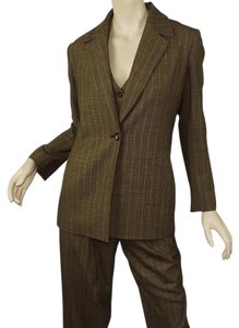 Dana Buchman Tone Striped Wool Tweed 3 Piece Blazer Vest & Pant Set