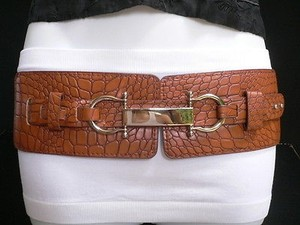 Women Hip Waist Elastic Moca Brown Western Fashion Belt Silver 29-38
