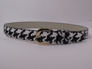 N. Women Black White Faux Leather Houndstooth Print Narrow Fashion Belt