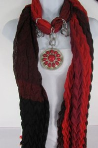 Women Brown Black Soft Fabric Silver Metal Red Beads Pendant Fashion Scarf