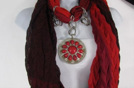 Other Women Brown Black Soft Fabric Silver Metal Red Beads Pendant Fashion Scarf