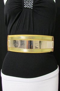 Other Women Metal Plate Mirror Belt Hip Waist Black Silver Gold Elastic
