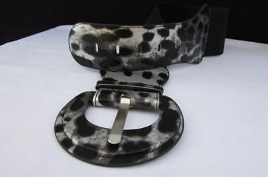 Other Women Hip Stretch Waist Silver Leopard Animal Print Belt 27-37