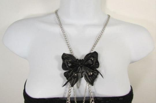 Other Women Silver Metal Body Chain Fashion Jewelry Faux Leather Black Butterfly