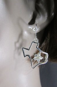 Other Women Silver Metal Western Fashion Earrings Set The State Of Texas Map Star