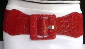 Other Women Hip High Waist Elastic Belt Waist Fashion Red Plus