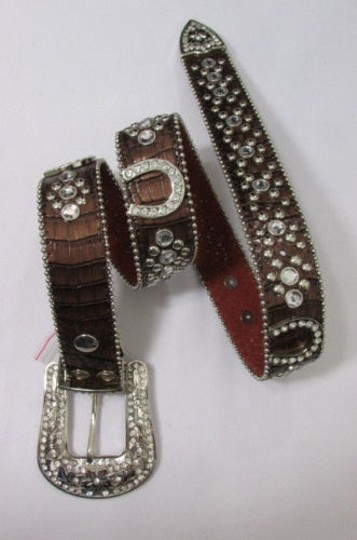 Other Women Western Fashion Brown Leather Belt Horse Shoe Silver Buckle