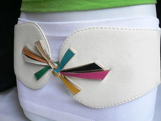 Other Women White Faux Leather Fashion Belt Pink Yellow Orange Buckle 27-35 S-l