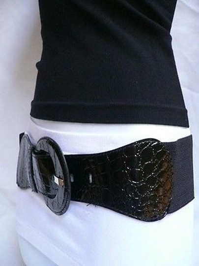Other Women Hip Elastic Waist Stretch Black Crocodile Stamp Belt 32-43