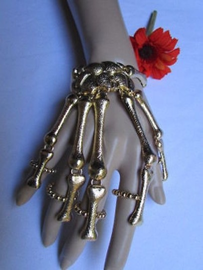 Other Women Gold Multi Fingers Metal Hand Chain Skeleton Slave Ring