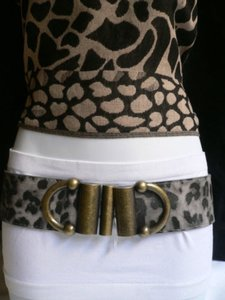 Other Women Hip Waist Elastic Leopard Fashion Belt Double Buckles 28-38