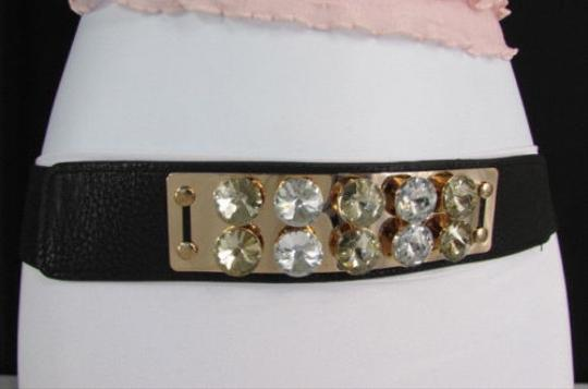 Other Women Black Elastic Fashion Belt Gold Metal Plate Big Crystals 27-35