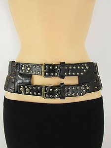 Women Black Faux Leather Wide Western Fashion Belt Buckles Gold Metals