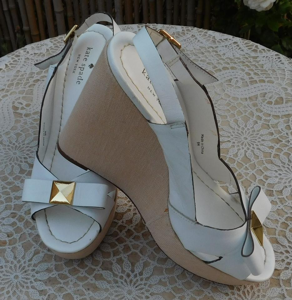a236b252b4ef Kate Spade White New York Leather Platform Bow Wedges Size US 9 Regular (M