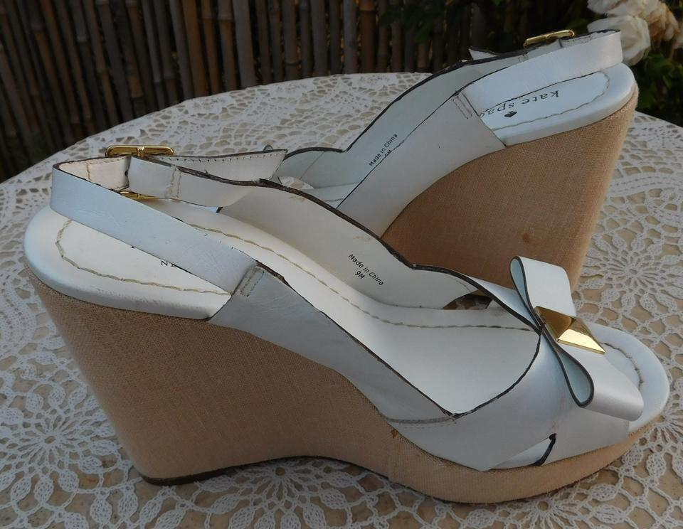 8c8135fedeb5 Kate Spade White New York Leather Platform Bow Wedges Size US 9 ...