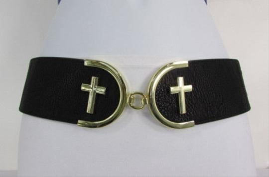 Other Women High Waist Hip Black Elastic Fashion Belt Big Gold Cross Buckle 27-35