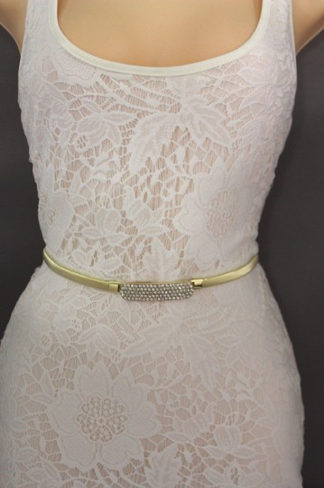 Other Women Elastic Metal Thin Fashion Belt Silver Gold Horse