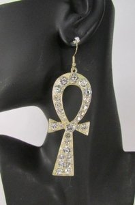 Other Women Big Egyptian Cross Metal Fashion Hook Earrings Silver Gold Rhinestones
