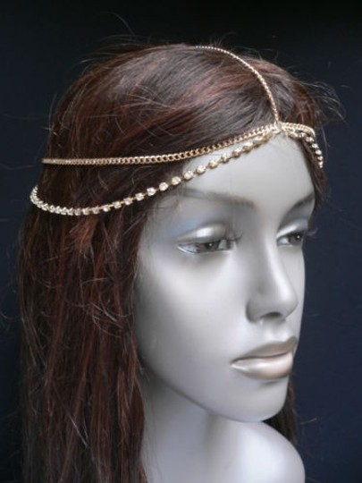 Other Women Gold Head Chain Jewelry Five Long Two Rhinestones Strands