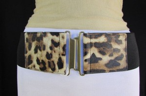 Jessica Simpson R Women Black Elastic Leopard Fashion Belt Gold Metal Buckle 31-38