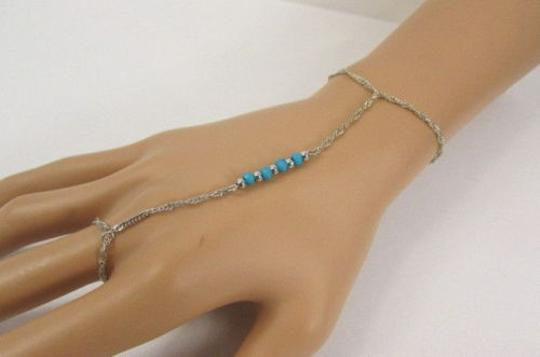 Other Women Silver Metal Hand Chain Blue Beads Slave Ring Bracelet