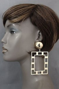 Women Fashion Earrings Set Big Art Deco Thick Gold Metal Square Shape Retro