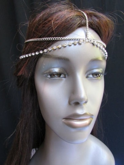 Other Women Silver Head Metal Chain two Long Rhinestones Strands