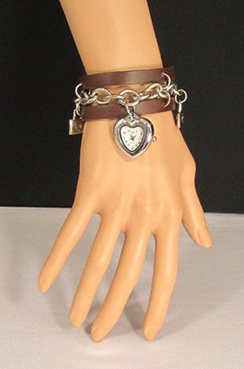 Other Women Brown Faux Leather Fashion Bracelet Silver Chain Heart Wrist Watch