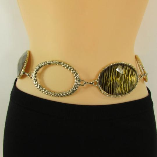 Other Women Hip High Waist Gold Black Metal Chains Fashion Belt Oval Zebra