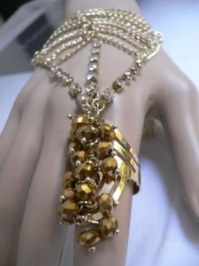 Other Women Gold Chains Slave Bracelet Moroccan Style Ring Cuff Beads Rhinestone
