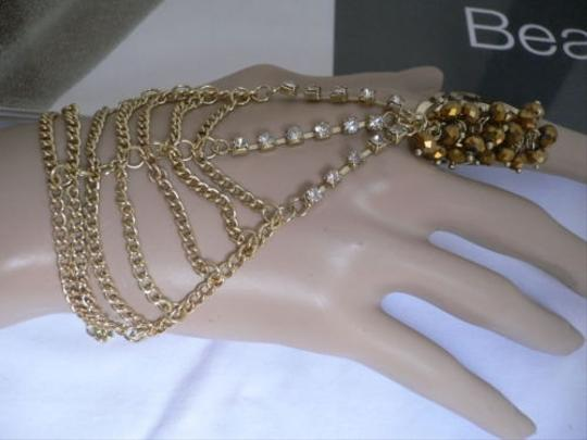 Other Women Gold Chains Slave Bracelet Moroccan Style Rhinestone