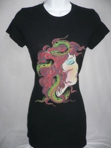 Ed Hardy Women Blouse Medusa Head Basic Crew Neck Tee T Shirt Blacks