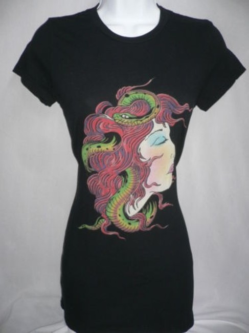 Ed Hardy Women Blouse Medusa Head Basic Crew Neck T Shirt Blacks