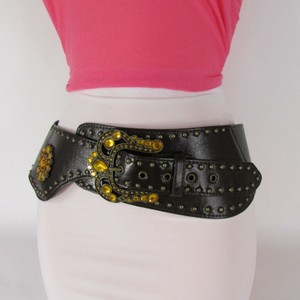 Other Waist Women Belt Brown Faux Leather Wide Western Fashion Big Buckle Beads