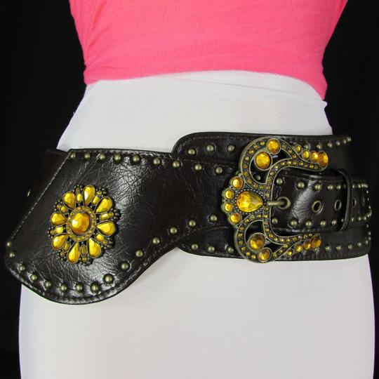 Other Waist Women Belt Brown Faux Leather Wide Western Buckle Beads