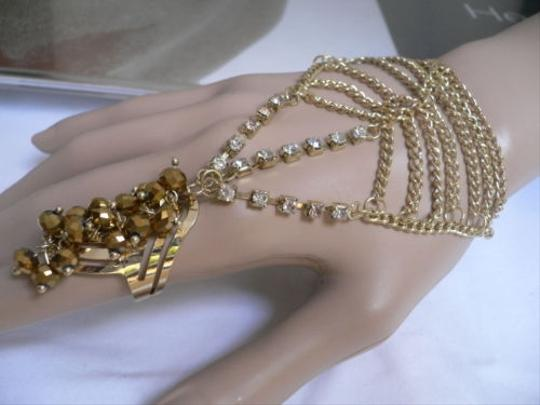Other Women Gold Chains Beads Slave Bracelet Moroccan Rhinestone