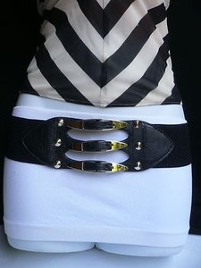 Women Wide Black Elastic Western Fashion Belt Stretch Band Silver Buckles