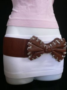 Other Women Hip Waist Elastic Brown Wide Fashion Belt Chains Big Bow 30-40