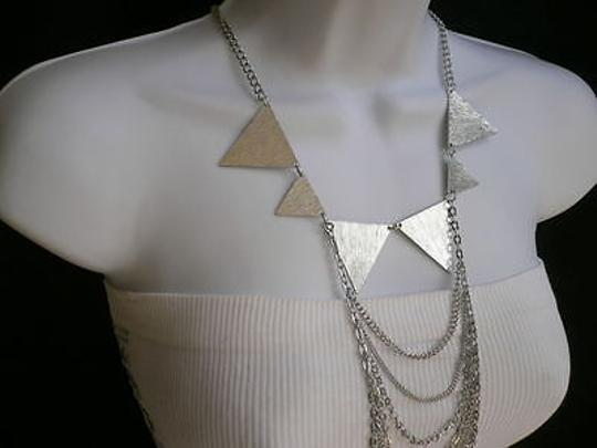 Other Women Silver Necklace Multi Waves Choker Body Chain Trendy Jewelry