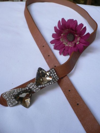 Other Women Hip Waist Narrow Brown Fashion Belt Crystals Bow Buckle 31-36