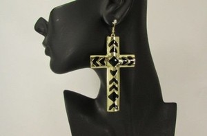 Women Big African Thick Cross Metal Fashion Hook Earrings Silver Gold