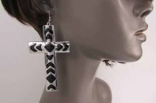 Other Women Thick Cross Metal Fashion Hook Earrings Silver OR Gold