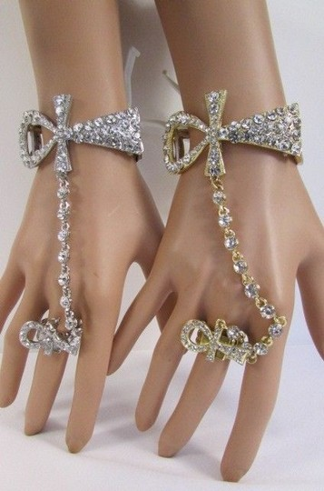 Other Women Egyptian Cross Bracelet Hand Chains Ring Gold Silver