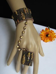 Other B. Women Copper Metal Hand Chains Slave Bracelet Big Ring Gold Rhinestones