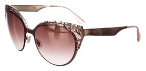 Jimmy Choo Bronze-tone Jimmy Choo Estelle lace print cat-eye sunglasses