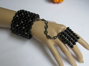 Other Women Pewter Metal Hand Chains Slave Bracelet Big Black Beads Rhinestones
