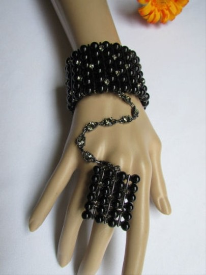 Other Women Pewter Hand Chains Slave Black Beads Rhinestones