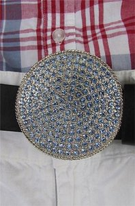 Women Men Silver Metal Western Belt Buckle Large Light Blue Rhinestones